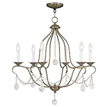 Livex Lighting 6426-48 Chesterfield 6 Light Chandelier Antique Gold Leaf