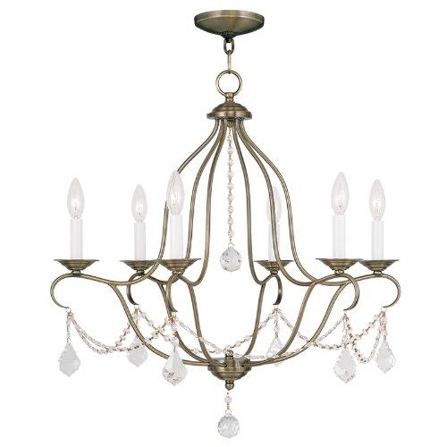 Brass 1 Light Chandelier (Livex Lighting 6426-01 Chesterfield 6 Light Chandelier, Antique Brass)