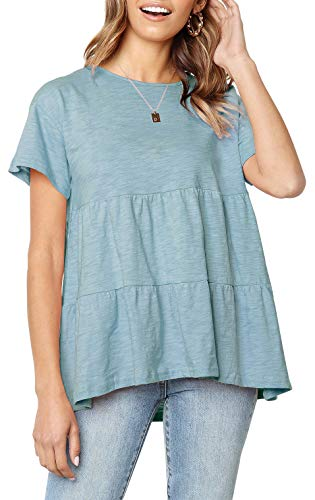 - Aqua Pleated Loose Peasant Top for Women Short Sleeve Casual Comfy Shirt Blouse