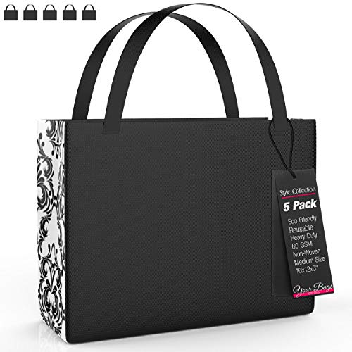 (Reusable Stylish Tote Bags, 5 Pack - Black and White Damask Pattern Medium Sized Carrying Bag for Shoes, Groceries, Accessories - Lightweight for Travel - 16