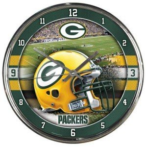 (Wincraft Green Bay Packers Round Chrome Wall Clock)