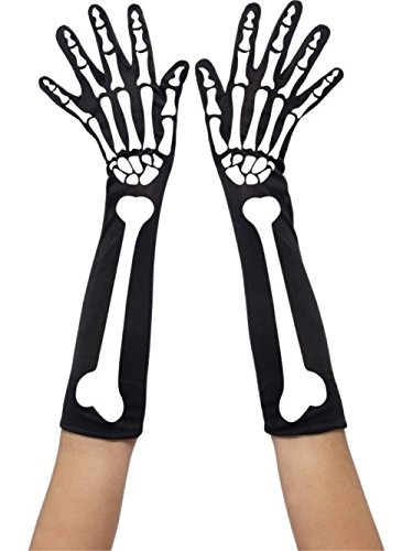 Halloween Skeleton Gloves Corpse Bride Skeleton Bones Long Gloves Fancy Dress (One Size, Black) - Corpse Bride Plus Size Costumes
