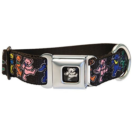 "9-15"" ""BEAR-Dancing Bear Black/Silver"" Dog Collar, Small"