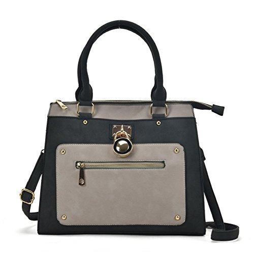 SALLY Women Designer Detail Grey Fashion handbag YOUNG Zip Front Tote Bag wq6xBrwnp