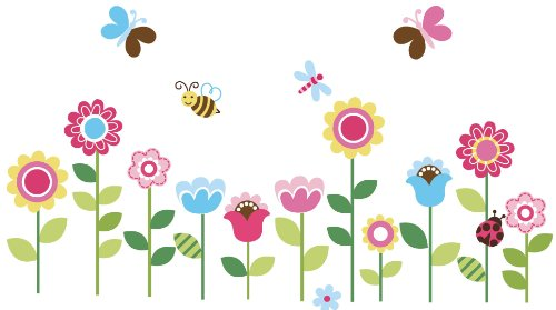 Garden Flowers Baby Nursery Peel & Stick Wall Sticker Decals ()