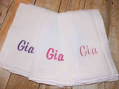 Set of three personalized baby burp cloths ()