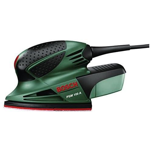 chollos oferta descuentos barato Bosch PSM 100 A Multilijadora 3 hojas de lija K 80 K 120 K 160 maletín 100 W nº de carreras en vacío 26 000 opm Ø circuito oscilante 1 4 mm