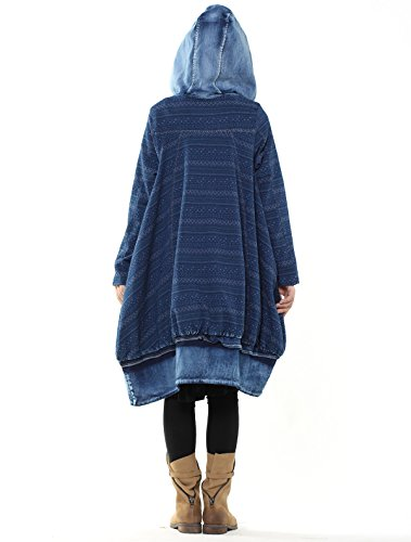 Mordenmiss Women's New Loose Fit Hoodie Zipper Up Denim Trench Coat With Pockets, Style 1-blue, Large by Mordenmiss (Image #5)
