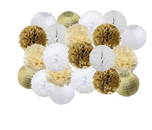 21pcs/Set Gold/Cream/White Tissue Pom Poms Paper Lantern Paper Honeycomb Balls Wedding Baby Shower Bridal Shower Birthday Party Decoration]()