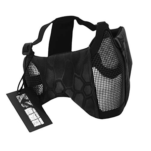 NO B Tactical Foldable Mesh Mask with Ear Protection for Airsoft Paintball wi...
