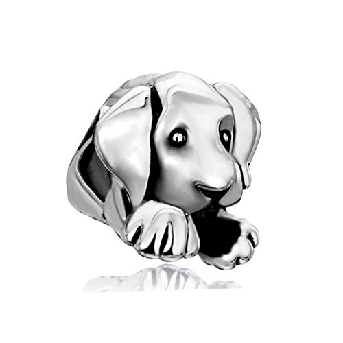 (LovelyCharms 925 Sterling Silver Sleepy Cute House Puppy Dog Animal Beads Fit Bracelets)