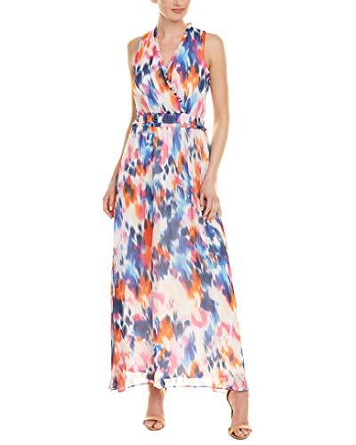 Surplice Bodice Dress - London Times Women's Wrap Bodice Elastic Waist Maxi White/Blue/Pink 14