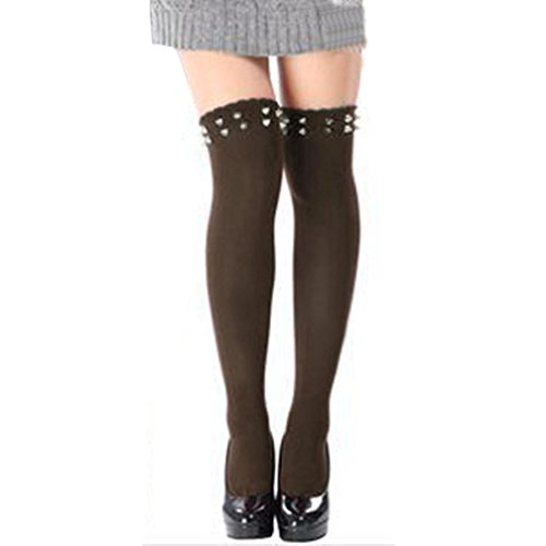 Creazy® Women Long Over Knee Thigh-high Socks Rivet Stocking Boot Socks Coffee d4lL7Ki