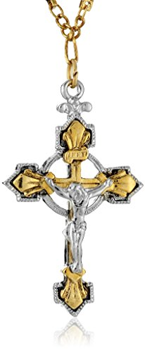 Symbols of Faith Inspirations 14k Gold-Dipped and Silver-Tone Crucifix Pendant - Silver 14k Crucifix