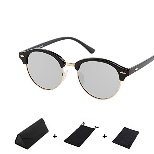 MS Sunglasses men Polarized Designer Inspired Classic Half Frame Horned Rim Wayfer - Wayfers