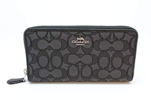 Accordion Purse Wallet (Coach Accordion Zip Wallet in Outline Signature (Black Smoke/Black) - F54633 SVDK6,One Size)