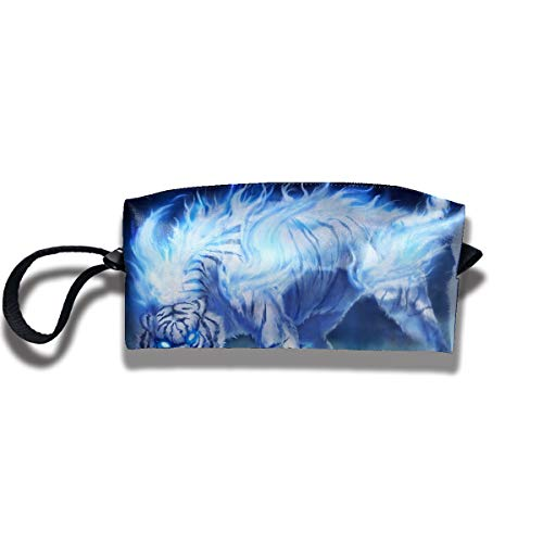 Cosmetic Bags With Zipper Makeup Bag Ice Snow Tiger Middle Wallet Hangbag Wristlet Holder -