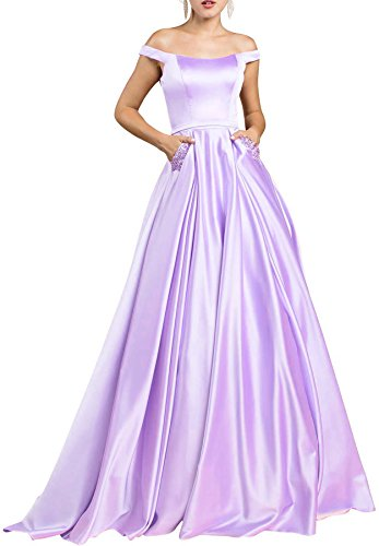 Lace V Beauty Dress and Neck Off Lilac Prom Bridal A Shoulder Satin Formal Evening line 5qAXAC4