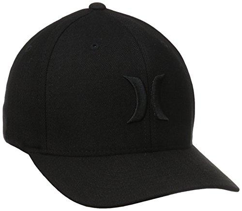 Hurley Men's Black Suits Hats Flex Fit, Black Woven, Large/X-Large
