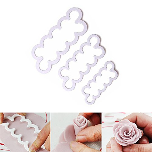 3Pcs Rose Petal Flower Cake Cutter Fondant Icing Tool Sugarcraft Decorating Mould Baking Accessories