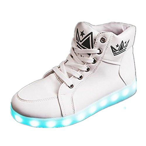 chen yasheng Performances-LED Light Up Couple Women's Men's Shoes Sneakers USB Charging For Valentine's Day Christmas Halloween (White-13 B(M) US Women/9.5 D(M) US Men) (Days O12 Of Christmas)