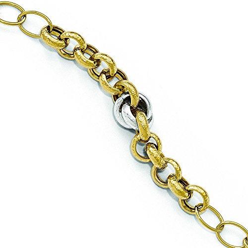 """14 carats-Bicolore-poli et texturé Bracelet lien-Fantaisie-JewelryWeb 8 """""""