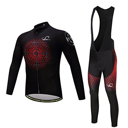 Cycearth Cycling Jersey Long Sleeve Set Men Winter Fleece Thermal Jackets Black Bib Pant (S, Ce603) ()
