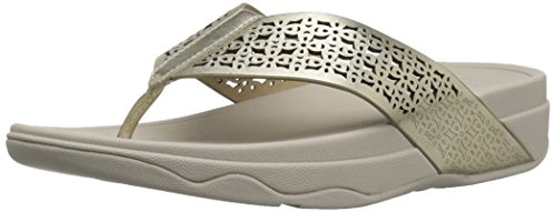 FitFlop Women's Leather Lattice Surfa Floral FLIP Flops, Pale Gold, 11 M US