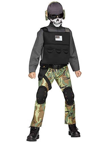 Fun World Big Boy's Med/Skull Soldier Chld Cstm Childrens Costume, Multi, Medium ()