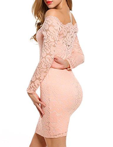 Teamyy Vestido Cóctel de Fiesta Elegante para Mujer Sin Tirantes Bodycon Slim Delgado Encaje Vestido de Lápiz Rosa