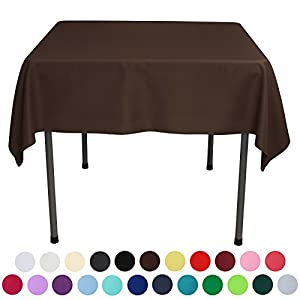 VEEYOO 54 inch Square Solid Polyester Tablecloth for Wedding Restaurant Party, Chocolate