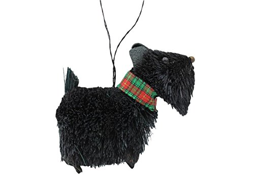 Kurt Adler Buri Scottie Scottish Terrier Dog with Tartan Collar Ornament Black