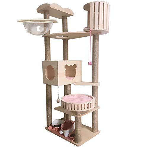 CHUHUI Solid Wood cat Climbing Frame Luxury Space Capsule cat Litter cat Tree cat Multi-Layer one Villa Large cat Toy Jumping Platform