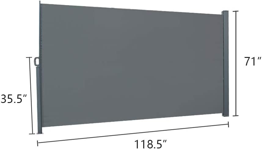 Gray MTFY 118 x 71 Outdoor Patio Retractable Side Awning,Indoor Retractable Folding Patio Side Awning Waterproof Sun Shade w//Alloy Frame for Privacy Divider Blind