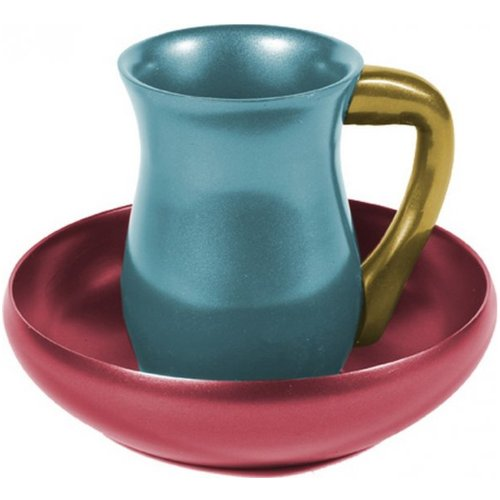 Anodized-Aluminum-Mayim-Achronim-Set-Turquoise-and-Red