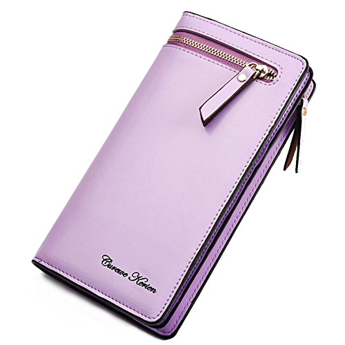 Ilpland New Cute Woman Multi Purpose Genuine Leather Handbag Clutch Wallet Purse Pouch For Iphone 4 4S 5 5S 6 6S Samsung S4 S5 S6 Cash Coins Bank Cards And Other Smart Phones  Light Purple