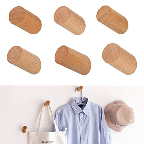 Wooden Hook - 6 Pack Wooden Coat Hooks, CBTONE Heavy Duty Wall Mounted Single Hook Handmade Decorative Craft Clothes Hanger, Beech Wood 2.2 inch Length