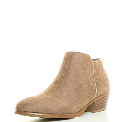 Wild Diva Womens Almond Closed Toe Med Low Heel Western Cowboy Ankle Booties Boots 7.5 Taupe