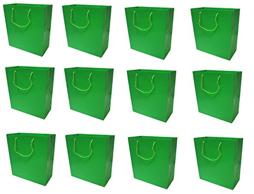 Style Design (TM) Dozen Gift Bags - 12 Beautiful Large Gift Bags for Presents, Parties or Any Occasion - Solid Color with UV Dots (Large, Green)