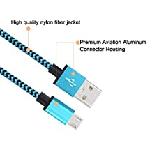 Hankuke Micro USB Cable 10ft High Speed Nylon Braided Cord for Samsung, HTC, Motorola, Nokia, Android, and More - blue