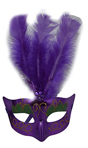[Women's Christmas Ball Party Half-face PVC LED Flash Purple Feather Mask] (Purple Feather Mask)