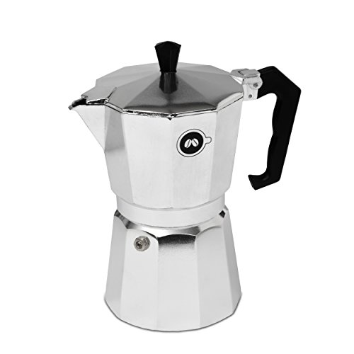 Stovetop Espresso Maker by COFFEEDDICTED | Italian Coffee Mocha Maker (6 Cup, Silver)