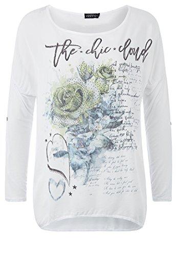 Vestino - Camiseta de manga larga - para mujer blanco/verde