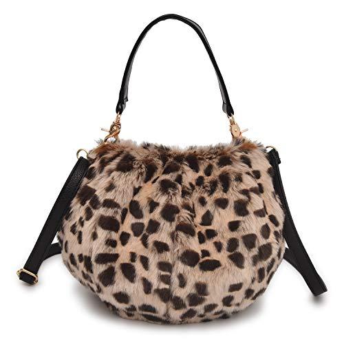 QTMY Faux Fur Tote Crossbody Bag Purse Handbag for Women,Leopard ()