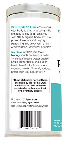 Pink Stork No Flow: Tea, Organic Loose Leaf in Biodegradable Sachets for Reducing Breast Milk Flow and Supply -30 Cups, Caffeine Free, Non-GMO, Hibiscus Flavor