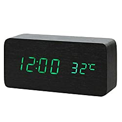 Multicolor Sound Control Wooden Wood Led Alarm Clock Desktop Table Digital Thermometer Wood USB/AAA Date Display,15X4X7(cm) 2