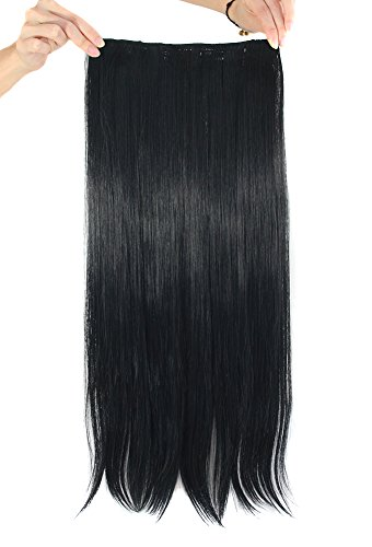 "MapofBeauty 24"" Long Straight Clip in Hair Extensions Hairpieces (Black)"