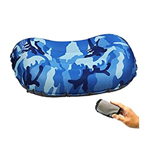 Trekology Ultralight Inflating Travel/Camping Pillows - Compressible, Compact, Inflatable, Comfortable, Ergonomic Pillow for Neck & Lumbar Support and (Blue Camo)