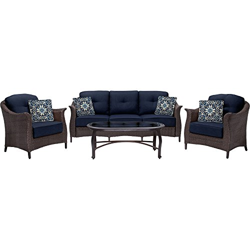 Hanover Outdoor Furniture Gramercy 4-Piece Wicker Patio Seating Set, Navy Blue