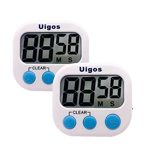 - Uigos 2 Pack Digital Kitchen Timer II 2.0 , Big Digits, Loud Alarm, Magnetic Backing, Stand, for Cooking Baking Sports Games Office (White) (2 Pack)